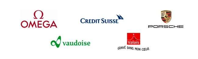 Omega, vaudoise, credit suisse, grave dans mon coeur porsche logo